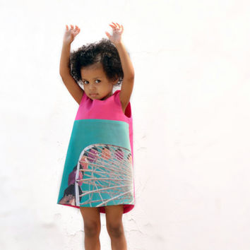 Organic Ferris Wheel Girls Dress with Photo Fabric - Pink Aqua Blue Eco Friendly Retro Pinafore - Summer Kids Fashion