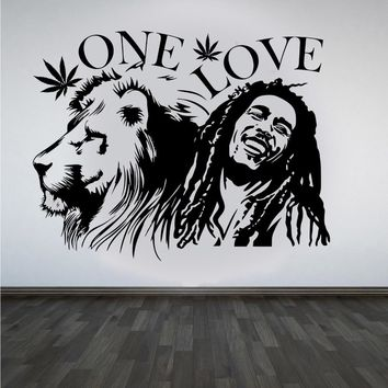 """wall stickers Bob Marley Lion Zion """"ONE LOVE"""" Marijuana Quote Wall Art Sticker/Decal/Mural Removable Vinyl Waterproof Mural A247"""