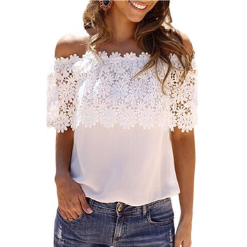 Print Lace Off Shoulder White Backless Chiffon Strapless Bra = 4804216644