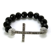 Silvertone 12mm Glass Beaded Bracelet with Iced Out cross and Disco Balls Shamballa