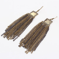 Metal Vintage Stylish Tassels Earrings [4919665988]