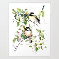 Chickadees and Dogwood Flowers Art Print by SurenArt
