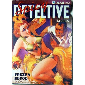 Pulp Fiction Novel Art Spicy Detective Frozen Blood 11 inch x 17 inch poster