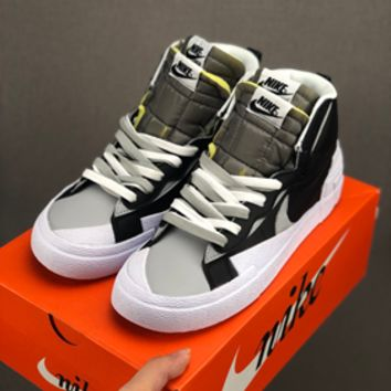 HCXX 19July 614 Nike Blazer Mid x Sacai BV0072 Causal Skateboard Shoes black grey