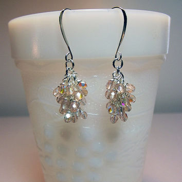 Light Peach Crystal Cluster Earrings, Christmas ONLY ONES Mom Sister Grandmother Bridesmaid Birthday Jewelry Gift, Small