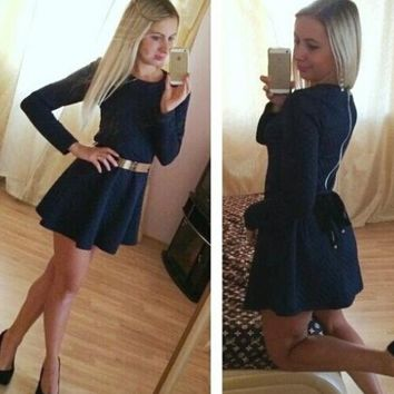 Back Zip Fit and Flare Dress