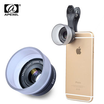 APEXEL HD 25mm super macro lens, universal detachable 10x photography lenses for iPhone Samsung Xiaomi Huawei IOS android 25MMH