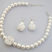 Wedding Pearl Jewelry Set with Hand Sculpted White Roses, South Sea Shell Pearl, Sale, Bridal Jewellery, White Wedding, Proms
