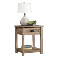 County Line Side Table, Night Stand with Drawer & Open Shelf - Salt Oak