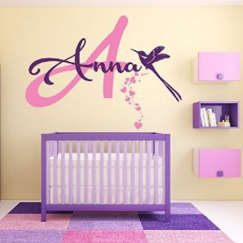 Wall Decals Baby Bird Vinyl Sticker Custom Personalized Name Monogram Sticker Baby Girl Boy Bedroom Nursery Murals Home Décor Kids Wall Room Stickers S52