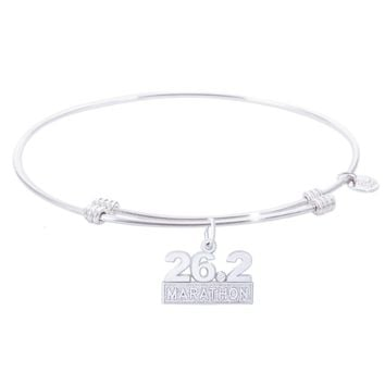 Sterling Silver Tranquil Bangle Bracelet With Marathon 26.2 W/Diamond Charm