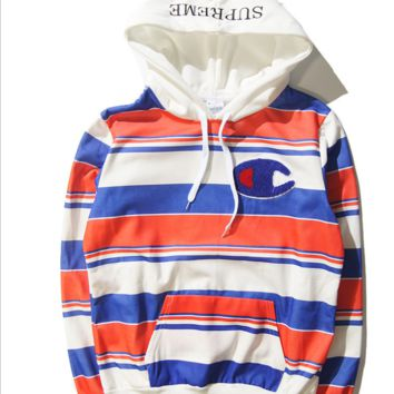 New streets and hooded sweaters men and women tide card striped sweater