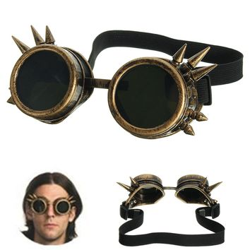 Men's Vintage Victorian Gothic Cosplay Rivet Steampunk Goggles Glasses Hippie Sunglasses