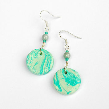 Mint earrings with marble pattern. Elegant and long hippie earrings. Boho jewelry. Handmade and unique!