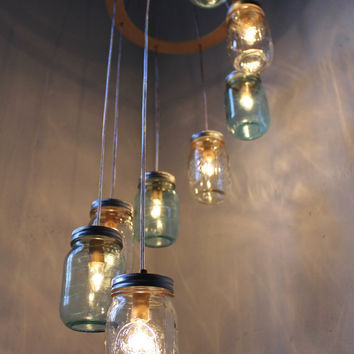 Mason Jar Chandelier Mason Jar Lighting Waterfall by BootsNGus