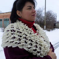 ivory knitted shawl,shawl with butterfly pattern,handmade shawl,crocheted shawl,a shawl made of wool with mohair