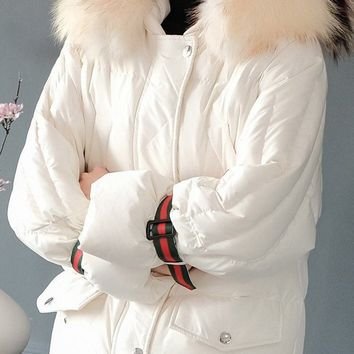 Mink Hooded Down Jacket W/ Band
