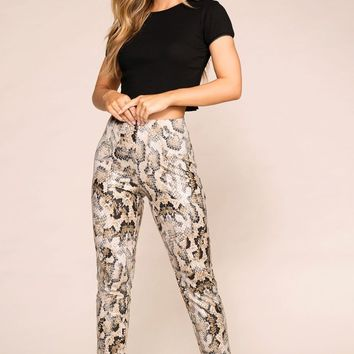 One Day Snakeskin Crop Leggings