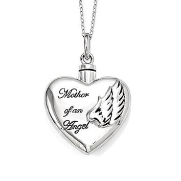 Sterling Silver Mother of an Angel Heart Ash Holder Necklace, 18 Inch