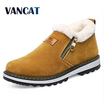 VANCAT New Arrival Lace-Up Men Fashion Boots Wear Resistant Handmade Ankle Boots Working Boots Men Casual Shoes Size 39~44
