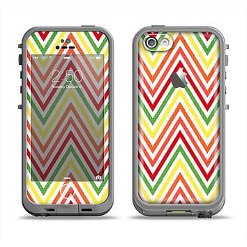 The Yellow & Red Vintage Chevron Pattern Apple iPhone 5c LifeProof Fre Case Skin Set
