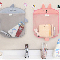1X Baby 35.5*40.5CM Kids Bath Toy Tidy Bag Net Mesh Storage Suction Bathroom HU