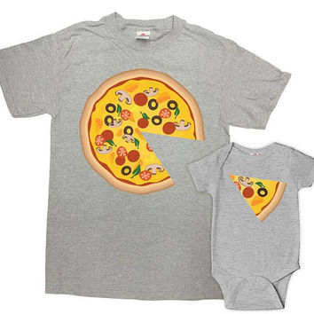 Matching Father Son Shirts Dad And Daughter Gift Daddy And Me Clothing Daddy And Baby T Shirts Family Outfits Pizza Shirts - SA859-860