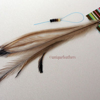 Natural Feathers Cruelty Free Hair Accessories Brown Feather Extensions Kit Emu Feathers Tan Feathers Accessories Hair Extensions, 6 pcs