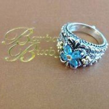 BARBARA BIXBY Blue & White Topaz 18K & 925 Flower Ring Sz 8