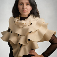 Ruffle  ivory eco felted shawl stole wrap cape capelet by ProninA