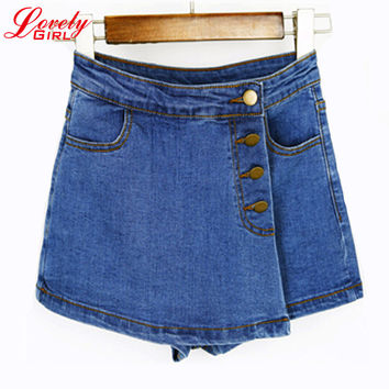 High Waisted Denim Shorts For Women 2016 Summer Skorts Skirts Slim Blue Short Jeans Vintage Short Skort Ladies High Quality Sale