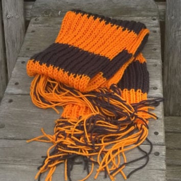 Knitted Scarf - Fan Scarf - Cinncinnati - Black and Orange - 6ft - Winter Accessories
