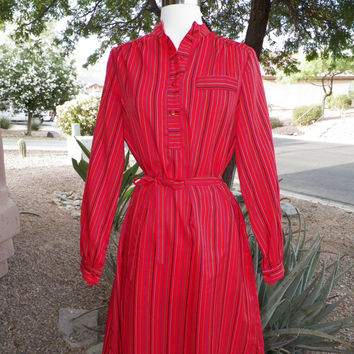 Vintage Dress. Red. Striped Pattern. Multicolor Stripes. Size Medium. Long Sleeve. Bag Dress. Ruby Red. Knee Length