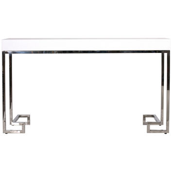 Barsanti Console Table with Greek Key Base | SILVER