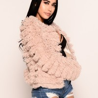 Nothing Nice Faux Fur Jacket - Beige