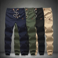 Drawstring Men Jogger Fit Cotton Pants Mid Rise Men's Trousers Joggers [9221780612]
