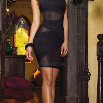 Sexy Women's Charming One Shoulder Mesh Dress Evening Clubwear Bodycon Dress hot Fancy = 1956885124