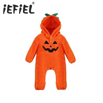 iEFiEL Newborn Babys Unisex Boys and Girls Autumn Winter Halloween Pumpkin Romper Jumpsuit Cosplay Party Costumes Size 3-18M