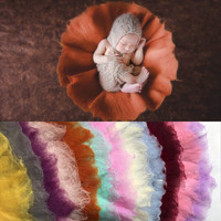 Round Felted Wool Layer Photo Props, 60*60cm Newborn Nest Photography Prop