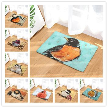 Autumn Fall welcome door mat doormat New Arrive Oil Birds  Entrance Door Light Thin Flannel Cute Cartoon Cozy Carpets Home Decor Kitchen Mats 40x60 50x80cm AT_76_7