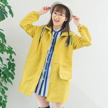 High Quality Hooded Women's Trench Cotton Solid Yellow Thin Cartoon Embroidery Ladies Long Coat Autumn Spring Windbreaker