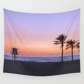 Serenity beach. Palms at the beach. Wall Tapestry by Guido Montañés