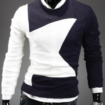 Color Block Five-Pointed Star Long Sleeves Sweater
