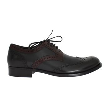 Dolce & Gabbana Black Gray Leather Wingtip Oxford Shoes