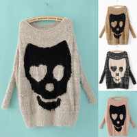 Ladies Asymmetric Skull Batwing Knitted Pullover Jumper Casual Loose Sweater Nlg
