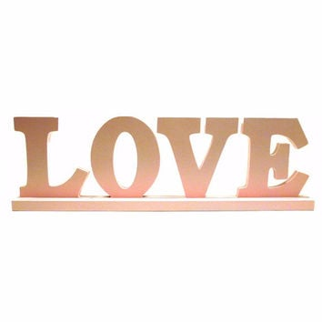love, wooden words, valentines day, pastels, pink, baby pink, nursery decor, word art, typography, letters, upcycled wood, pink decor