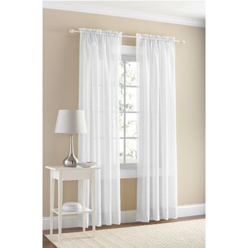 Mainstays Marjorie Solid Voile Curtain Panel Pair, Set of 2 - Walmart.com