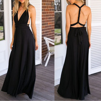2017 Ukraine Sexy Women black Red Long Maxi Dress Hippie Gothic Bridesmaids Convertible Wrap Backless Dresses Robe party dress
