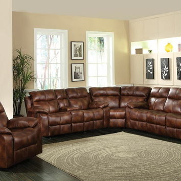 Acme 50815-16-17 3 pc dyson collection light brown polished microfiber upholstered sectional sofa set with recliner ends