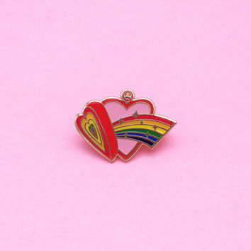Rainbow Heart Locket, Enamel Pin, Hard Enamel   // Free Shipping for first 10 orders //